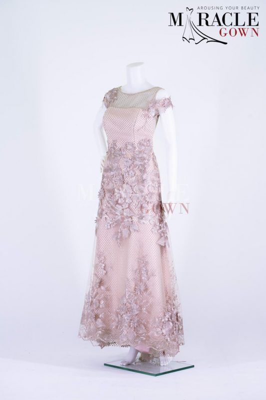 Sewa Gaun Surabaya - Miracle Gown - 3D Brocade Ribbon Rose On Nude Blush Evening Gown