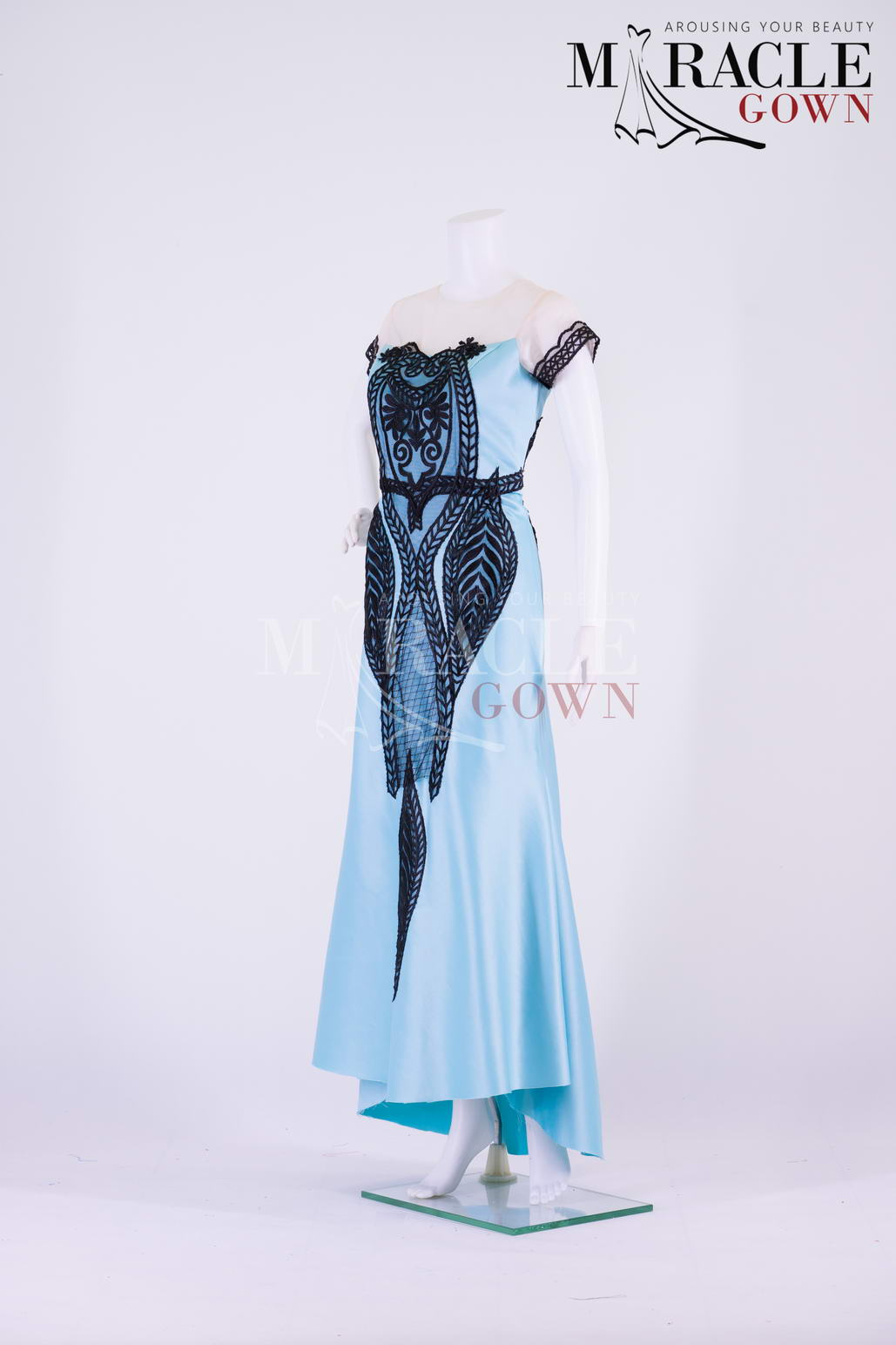 Sewa Gaun Surabaya - Miracle Gown - Blue Sky Evening Gown With Black Embellishment