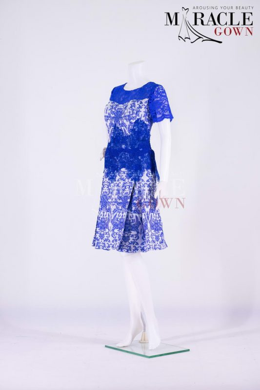Sewa Gaun Surabaya - Miracle Gown - Cobalt Blue Cocktail Dress With Lace Work
