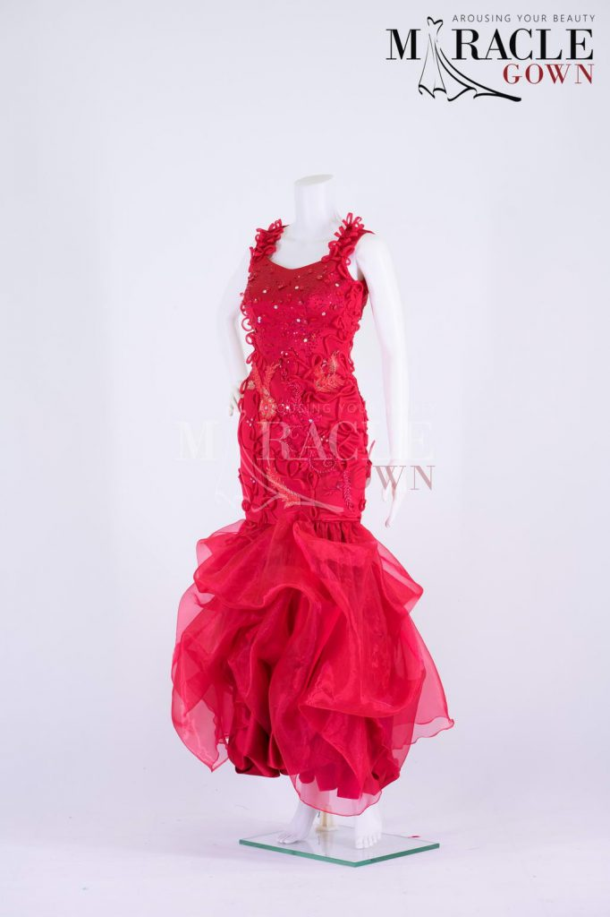 Sewa Gaun Surabaya - Miracle Gown - Floral Appliques On Beaded Ruffled Red Gown