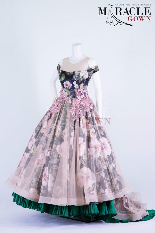 Sewa Gaun Surabaya - Miracle Gown - Floral Ball Gown With Pink Multi Colored Lace