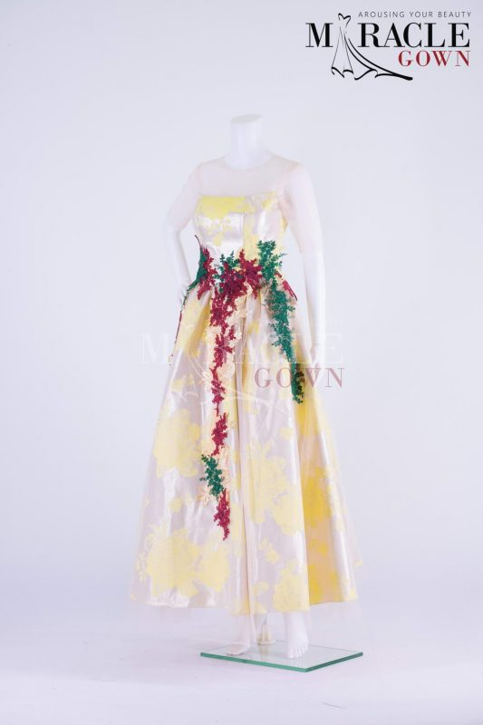 Sewa Gaun Surabaya - Miracle Gown - Green And Red Lace On Strapless Yellow Pastel Gown
