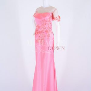 Sewa Gaun Surabaya - Miracle Gown - Roses Appliques On Cherry Blossom Long Gown