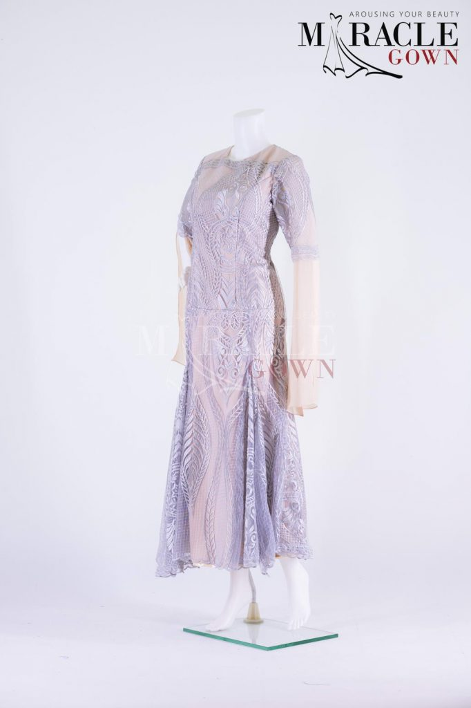 Sewa Gaun Surabaya - Miracle Gown - Silver Mist Evening Gown With Embellishment