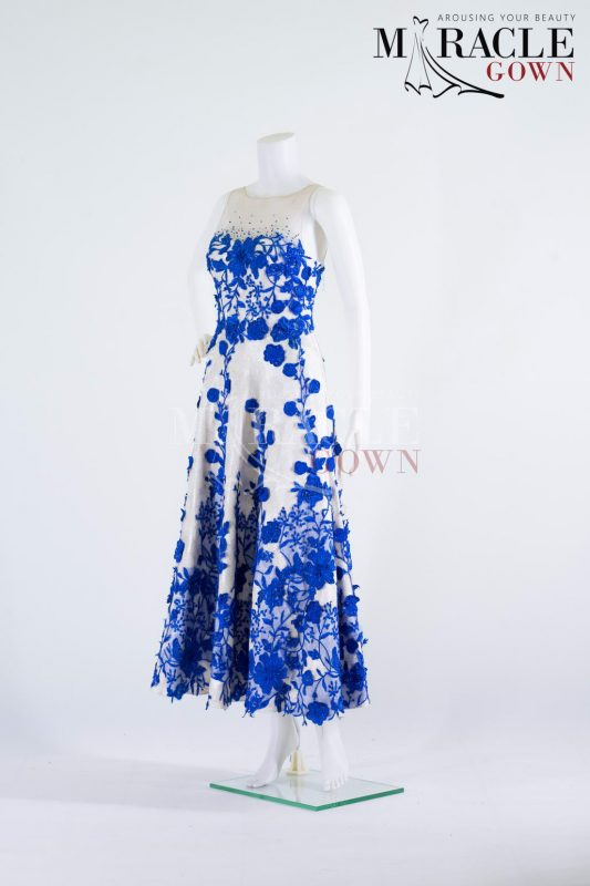 Sewa Gaun Surabaya - Miracle Gown - Blue Scheme Brocade Sheer White Cocktail Dress