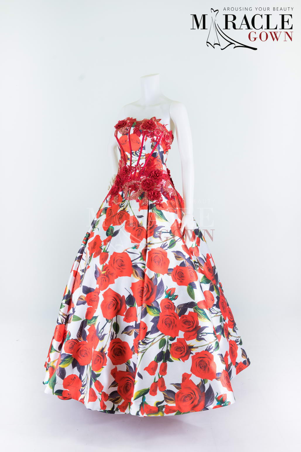 Sewa Gaun Surabaya - Miracle Gown - Crimson Red Flowery Ball Gown
