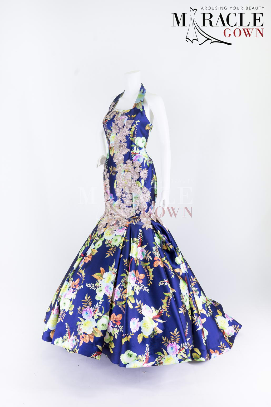 Sewa Gaun Surabaya - Miracle Gown - Dark Blue Floral Dress With Halter Neck Accent