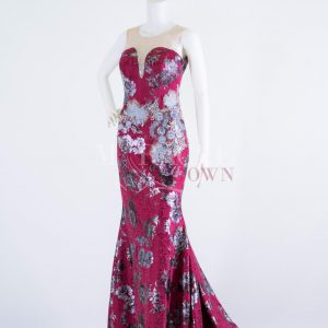 Sewa Gaun Surabaya - Miracle Gown - Multicolored Lace Drapped In Cherry Red Long Gown