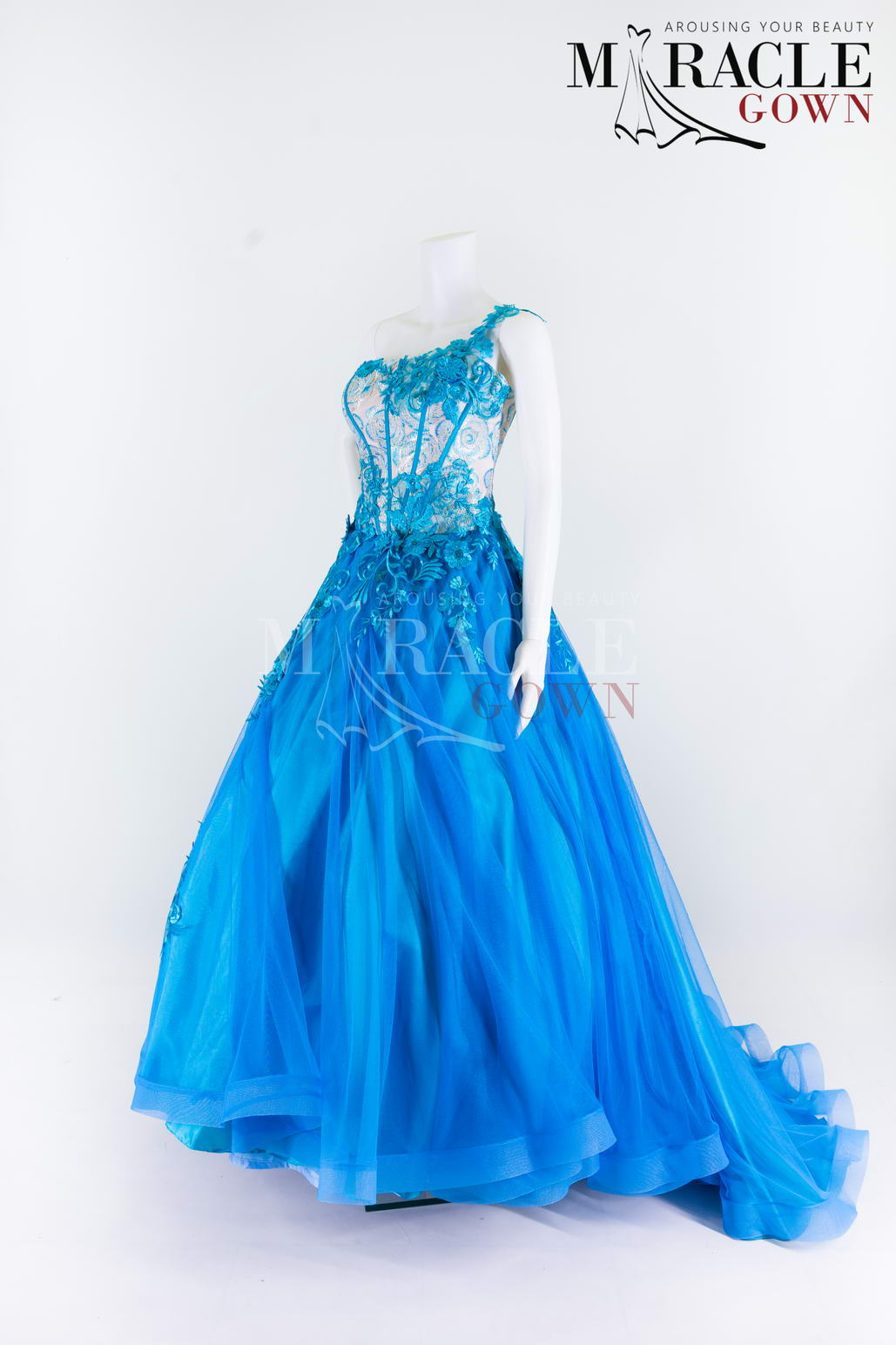 Sewa Gaun Surabaya - Miracle Gown - One Shoulder Embroidered Bustier On Top Of Blue Lapiz Gown