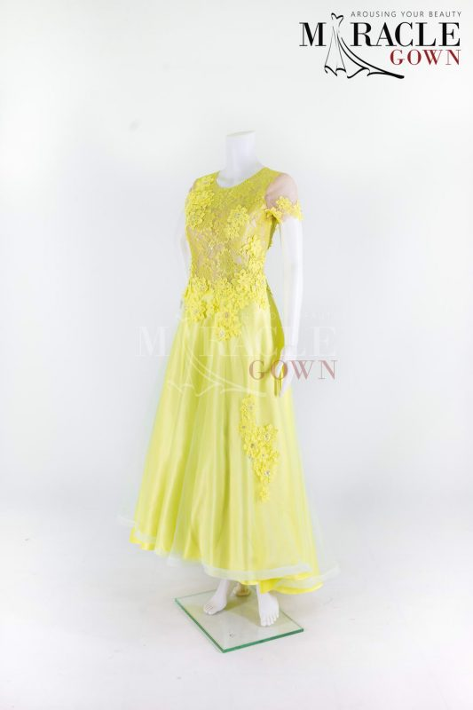 Sewa Gaun Surabaya - Miracle Gown - Shimmering Yellow Lace In Delicate Evening Gown