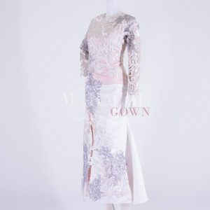 Sewa Gaun Surabaya - Miracle Gown - Silver Pink Laces Appliques Gown With Slit