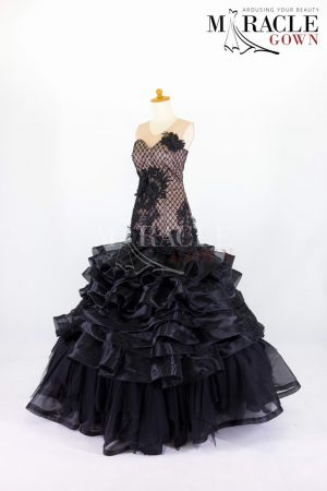 Sewa Gaun Surabaya - Miracle Gown - Dark ruffled mermaid gown with sweetheart neckline