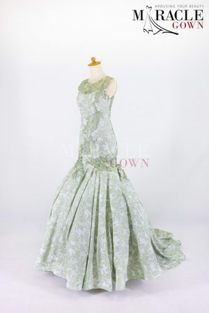 Sewa Gaun Surabaya - Miracle Gown - Mint paisleys in green sage mermaid gown