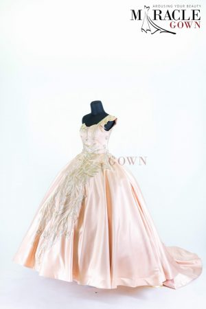Sewa Gaun Surabaya - Miracle Gown - One shoulder carnation ball gown