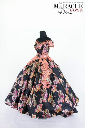 Sewa Gaun Surabaya - Miracle Gown - Peachy brocade in full floral patterned ball gown