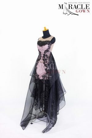Sewa Gaun Surabaya - Miracle Gown - Pink cocktail dress with full dark layers