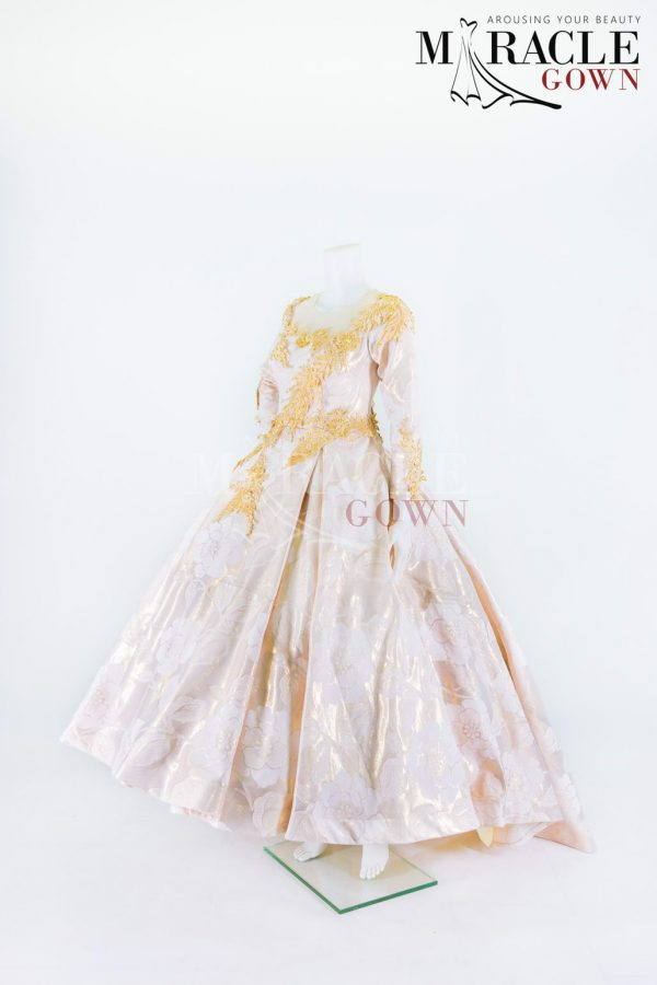 Sewa Gaun Surabaya - Miracle Gown - Rose gold pleated ball gown
