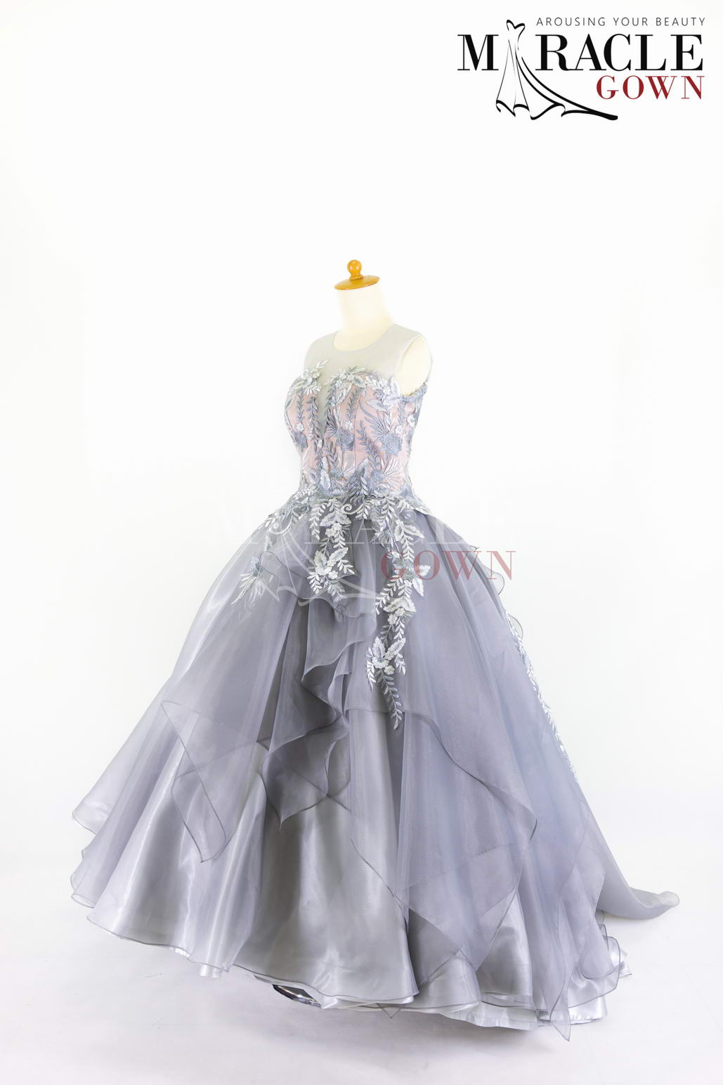Sewa Gaun Surabaya - Miracle Gown - Silver drop brocade on a sheer layered ball gown