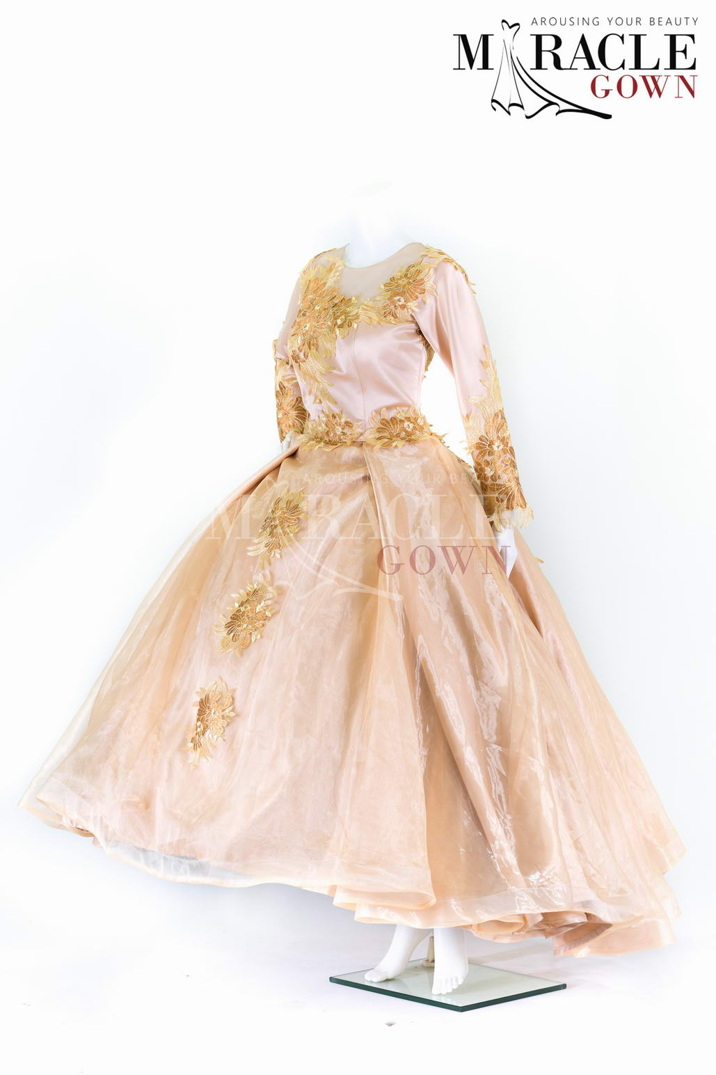 Sewa Gaun Surabaya - Miracle Gown - Full cloack golden peach ball gown with cheongsam neckline