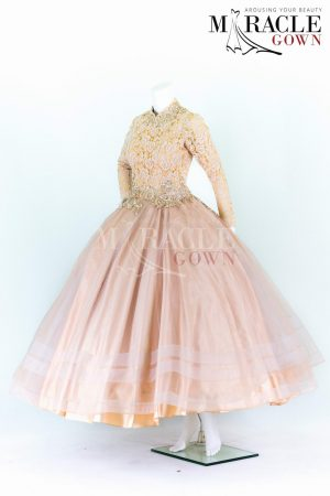 Sewa Gaun Surabaya - Miracle Gown - Full pleats ball gown with light gold brocade