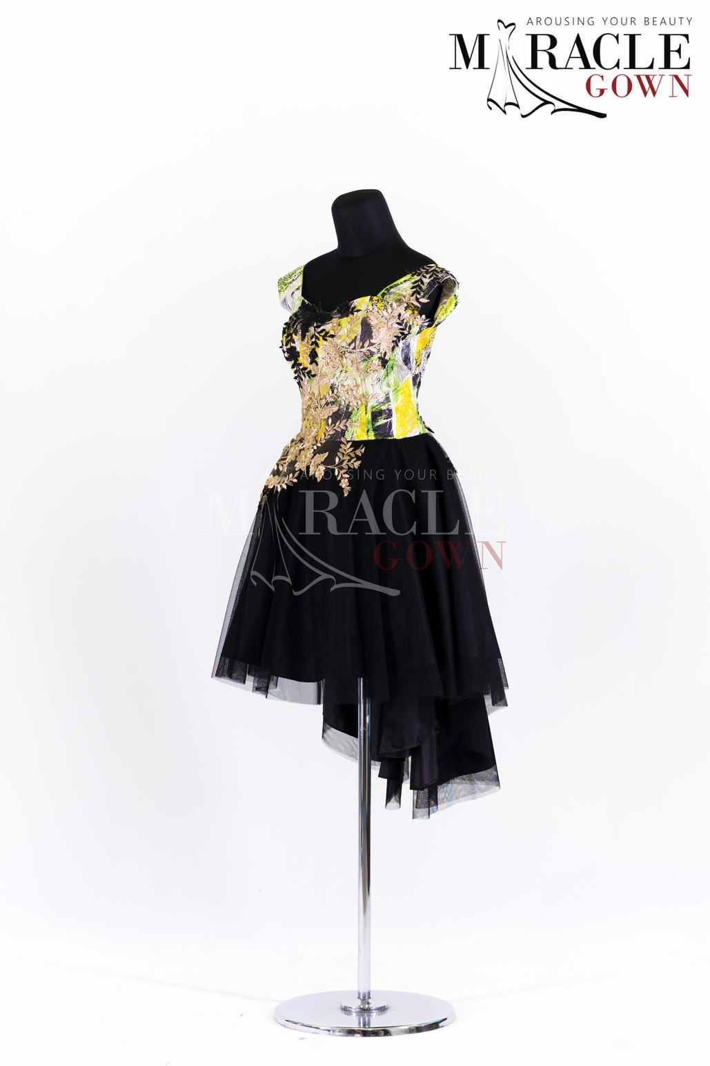 Sewa Gaun Surabaya - Miracle Gown - Gold and dark tulle cocktail dress