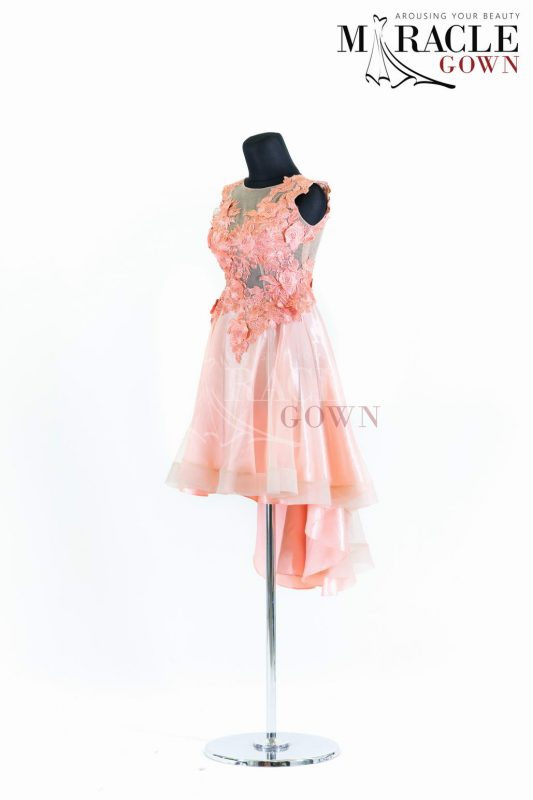 Sewa Gaun Surabaya - Miracle Gown - Pale blush floral stroke on half cloak cocktail dress