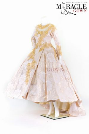 Sewa Gaun Surabaya - Miracle Gown - Pleated nude ball gown with princess line