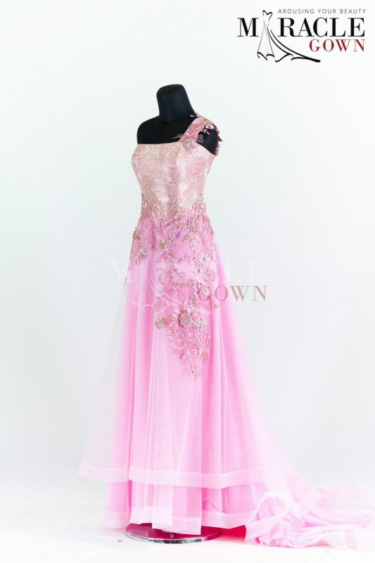 Sewa Gaun Surabaya - Miracle Gown - Rosy cheeks on top of cherry blush double layer gown