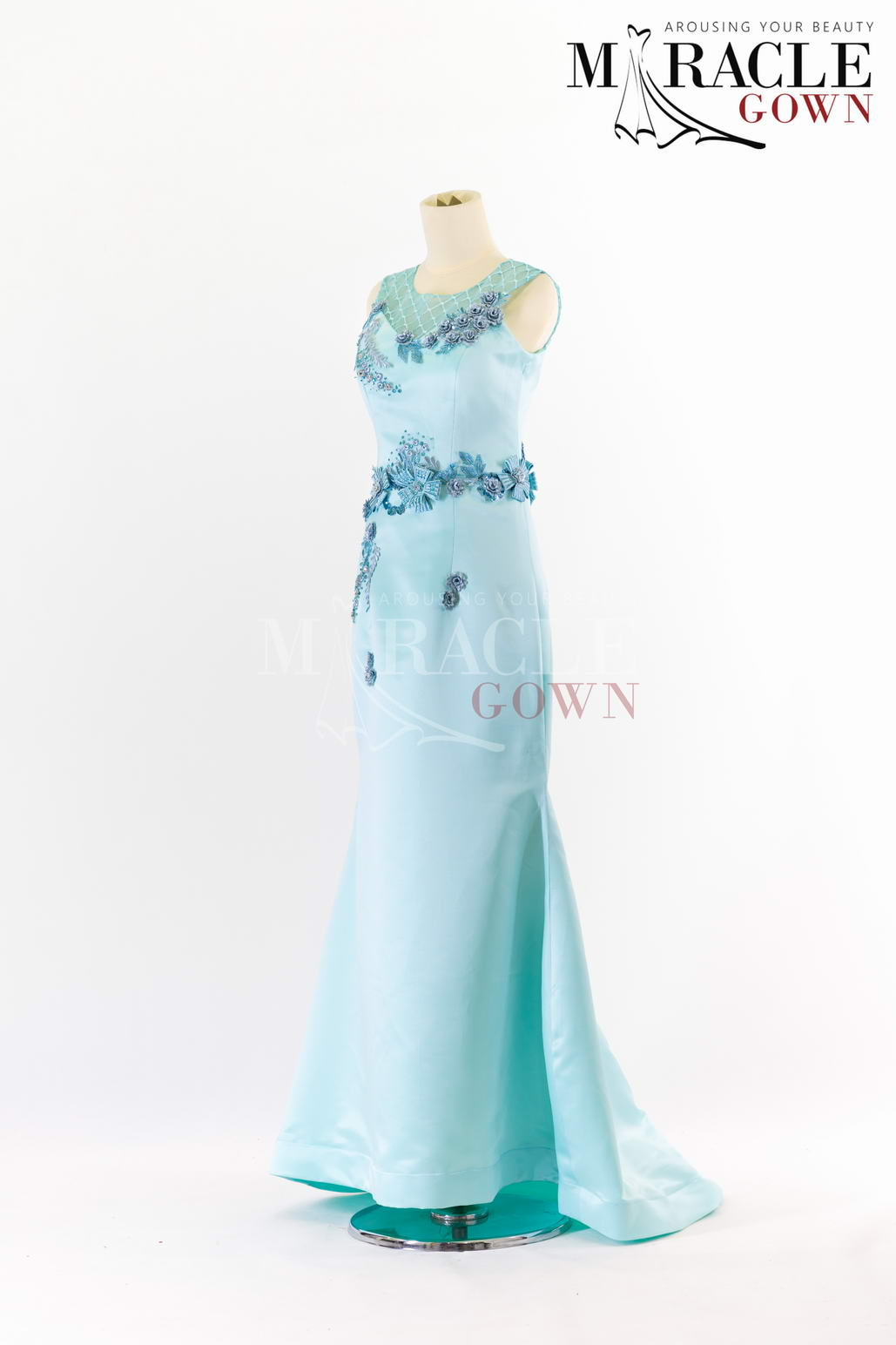 Sewa Gaun Surabaya - Miracle Gown - Touches of glittering blue on half cloack evening gown