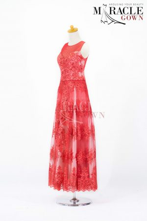 Sewa Gaun Surabaya - Miracle Gown - Red Alice Laces Evening Dress