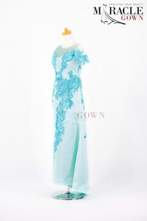 Sewa Gaun Surabaya - Miracle Gown - Twin Brocade In Cyan Long Dress