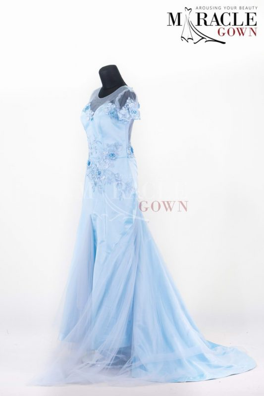 Ice Blue Dress With Skirt Godets Style
