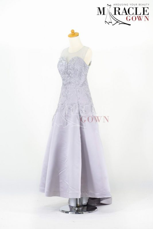 Silver Flower Spread Long Dress