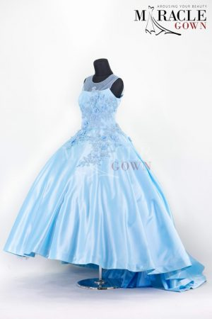 sleeveless blue sky evening gown
