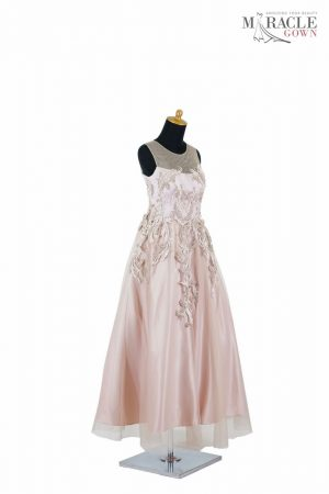 Sewa Gaun Surabaya - Miracle Gown - A line round neck tulle long prom dress