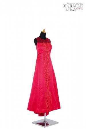 Sewa Gaun Surabaya - Miracle Gown - Basic red dress with tail on the back