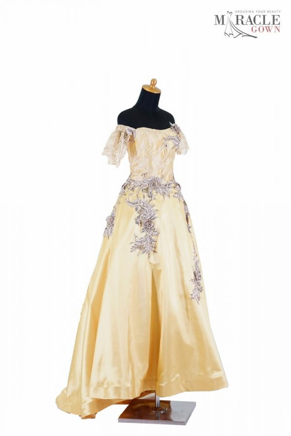 Sewa Gaun Surabaya - Miracle Gown - Corset gold dress with bamboo pattern