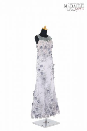 Sewa Gaun Surabaya - Miracle Gown - Grey brocade A-line dress
