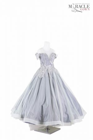 Sewa Gaun Surabaya - Miracle Gown - Grey sweetheart ballgown with silver sprinkling of flowers