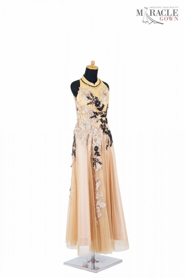 Sewa Gaun Surabaya - Miracle Gown - Halter neck gold tulle dress