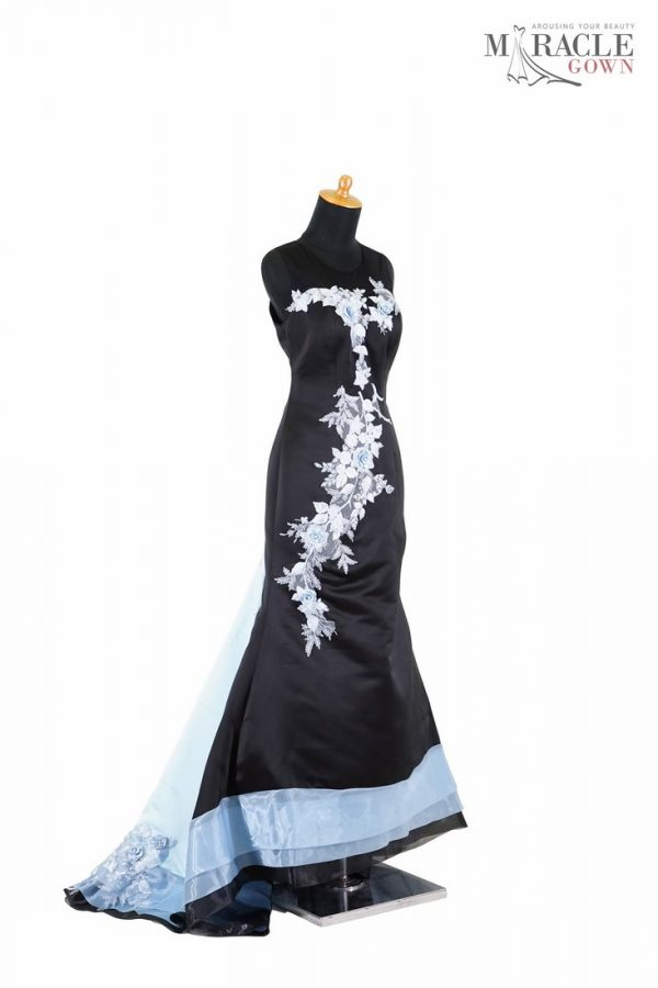 Sewa Gaun Surabaya - Miracle Gown - Long tail mermaid black dress with light blue flowers