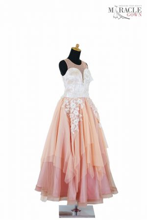 Sewa Gaun Surabaya - Miracle Gown - Peach sweetheart irregular skirt long dress