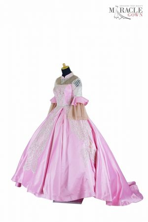 Sewa Gaun Surabaya - Miracle Gown - Pink high neck double layers sleeve