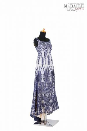Sewa Gaun Surabaya - Miracle Gown - Round neck navy ivory mermaid dress