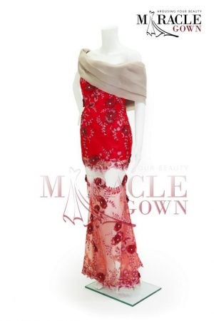 Sewa Gaun Surabaya - Miracle Gown Couture 2015 - Crimson bateau hemmed in aster strings