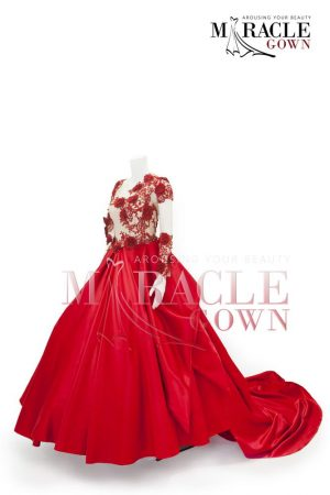Sewa Gaun Surabaya - Miracle Gown Couture 2015 - Fiery red lace sequin ball gown