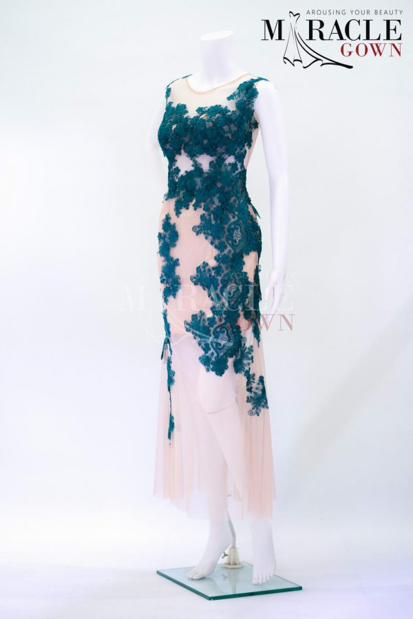Sewa Gaun Surabaya - Miracle Gown - Dress in Jungle green embellished
