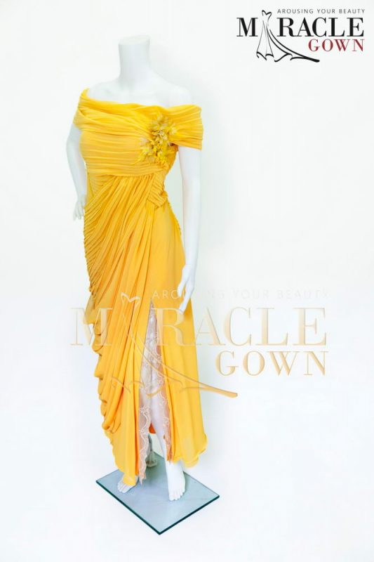 Sewa Gaun Surabaya - Miracle Gown - Golden Grecian Stripped Dress