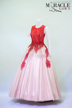 Sewa Gaun Surabaya - Miracle Gown - Primrose red drapped in peach ball gown
