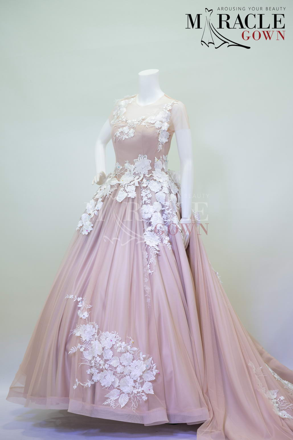 Snow White Petaled Strokes In Wisteria Gown